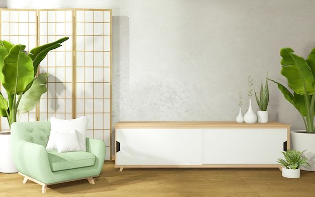 Dekorieren eines raumes im japanischen stil, bestehend aus sessel und schrank auf raum mit betonwänden.3d rendering