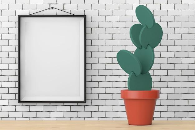 Dekorieren sie künstlicher cartoon-kaktus oder nopal-imitation im topf vor der backsteinmauer mit extremer nahaufnahme des leeren rahmens. 3d-rendering