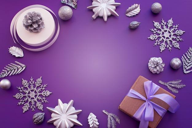 Dekorrahmen komposition für die dekoration von weihnachten.