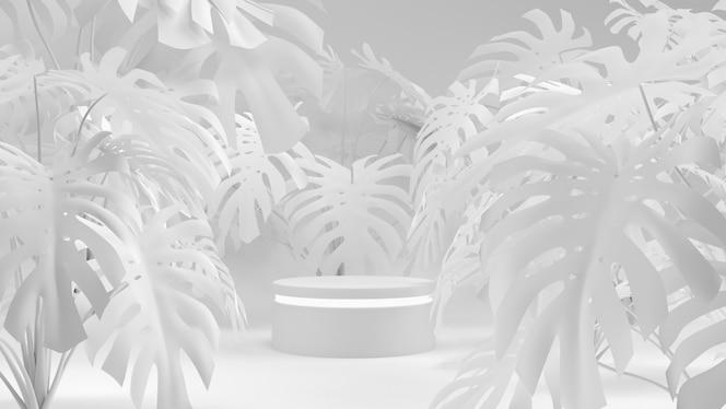Deliciosa mit weißer Wiedergabe des Szenenkonzept-Darstellungsproduktes 3d der geometrischen Form.