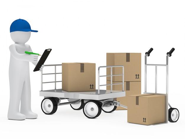 Deliveryman eine liste mit einem grünen stift überprüfung