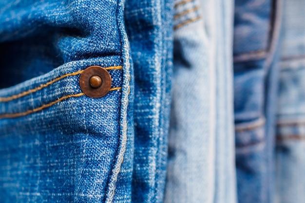 Denim blue jeans stapel textur hintergrund nahaufnahme