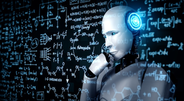 Denken ai humanoid roboter analyse bildschirm der mathematik formel und wissenschaft