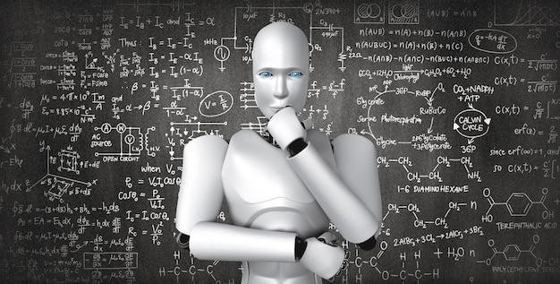 Denken ai humanoider roboter, der bildschirm der mathematischen formel und der wissenschaft analysiert