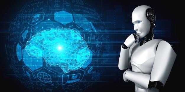 Denken ai humanoider roboter, der hologrammbildschirm analysiert, der konzept der ki zeigt