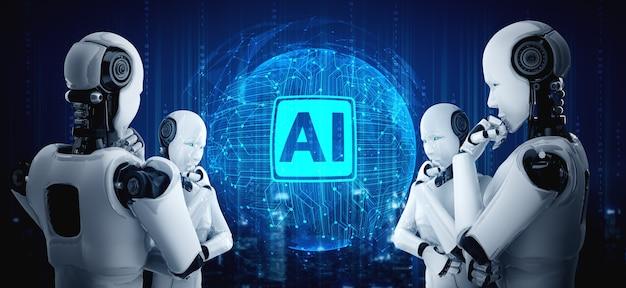 Denken ai humanoider roboter, der hologrammbildschirm analysiert