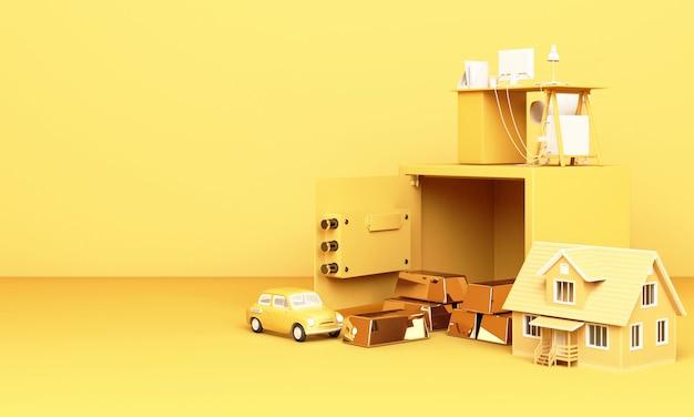 Denken sie an zuhause, auto und arbeit mit einem offenen safe und einem goldbarren in gelb