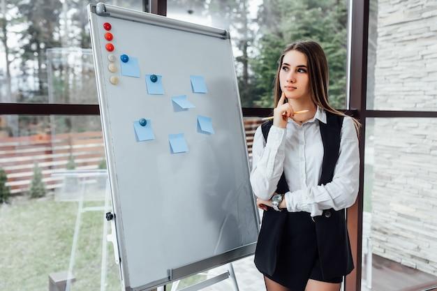 Denkende geschäftsfrau mit weißem schreibtisch für die planung eines neuen programms für ihre arbeiter.