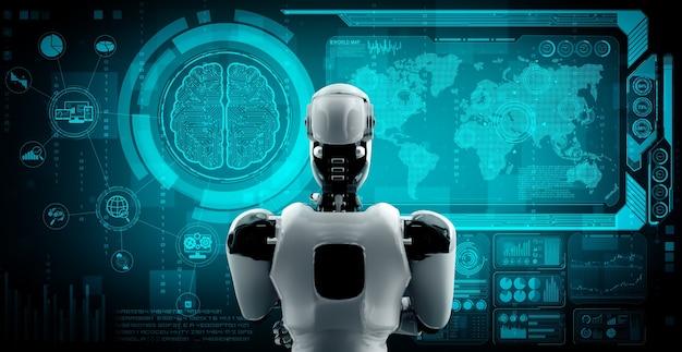 Denkender ai humanoider roboter, der hologrammbildschirm analysiert, der konzept der ki zeigt
