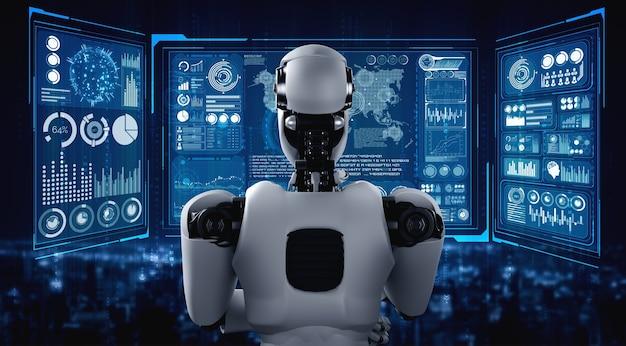 Denkender ai humanoider roboter, der hologrammbildschirm analysiert, der konzept zeigt