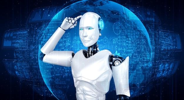 Denkender humanoider ki-roboter, der den bildschirm der mathematischen formel und wissenschaft analysiert