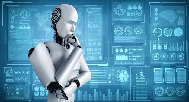 Denkender humanoider ki-roboter, der den hologramm-bildschirm analysiert, der das konzept von big data zeigt