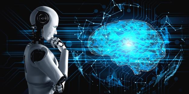 Denkender humanoider ki-roboter, der den hologrammbildschirm analysiert, der das konzept des ki-gehirns und der künstlichen intelligenz zeigt