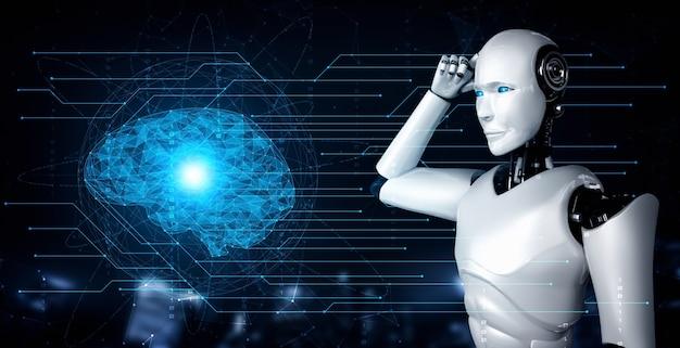 Denkender humanoider ki-roboter, der den hologrammbildschirm analysiert, der das konzept des ki-gehirns zeigt