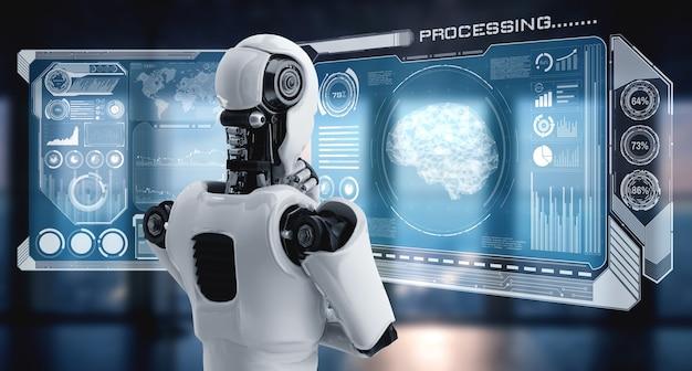 Denkender humanoider roboter der ki, der hologrammbildschirm analysiert, der konzept-big-data zeigt