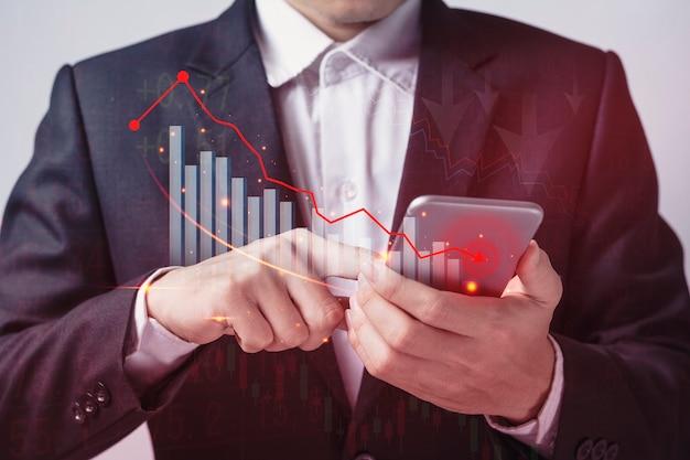 Depression wirtschaftskrise aktienchart fällt geschäft mit geschäftsleuten in der welt der investitionen.