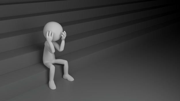 Deprimierende person mit treppe. 3d-rendering