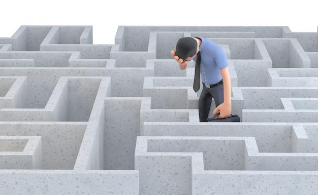 Deprimierter geschäftsmann, der mitten in einem labyrinth steht. isoliert. enthält einen beschneidungspfad