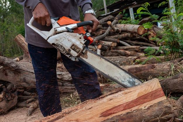 Der arbeiter arbeitet mit einer kettensäge. kettensäge hautnah. holzfäller sägt baum mit kettensäge. mann, der holz mit säge, staub und bewegungen schneidet.