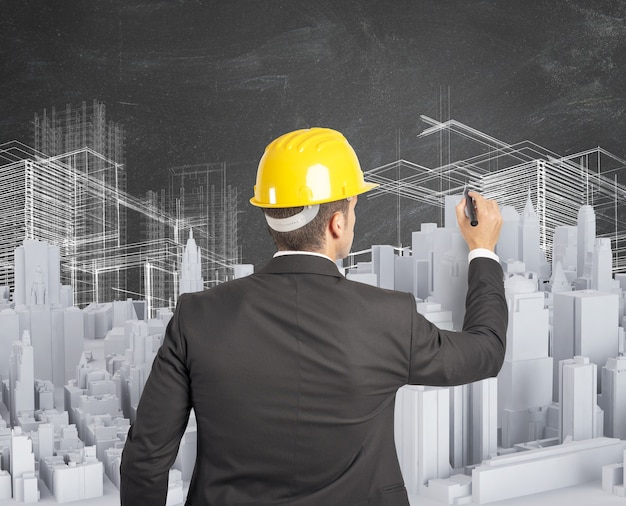 Der architekt entwarf und baute ein städtisches projekt