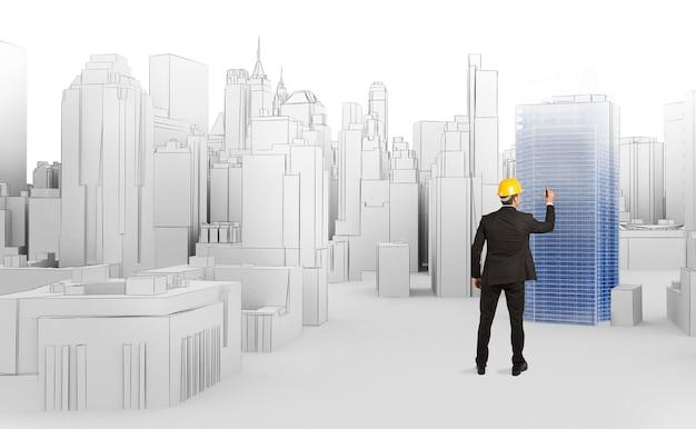 Der architekt entwirft einen neuen großen städtischen standort
