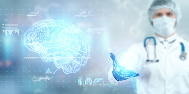 Der arzt schaut sich das gehirnhologramm an, überprüft das testergebnis auf der virtuellen oberfläche und wertet die daten aus. alzheimer, demenz des gehirns, innovative technologien, medizin der zukunft.