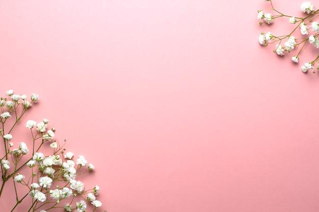 Der atem des babys blüht auf einem rosa hintergrund