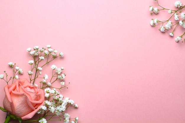 Der atem des babys blüht und stieg auf einem rosa hintergrund
