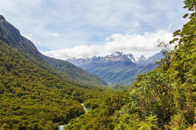 Der aussichtspunkt pops auf den wald und den fluss fiordland national park südinsel neuseeland new