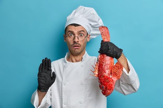 Der betäubte koch hält großen fisch, bereitet mahlzeiten aus meeresfrüchten zu, macht mit angehaltenem atem stop-gesten-looks, gibt tipps zum essen und hat gute kulinarische fähigkeiten