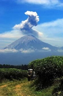 Der blick auf den berg semeru in lumajang, indonesien strömt rauch aus dem krater