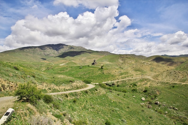 Der blick auf die berge des kaukasus, armenien