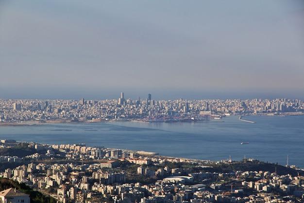 Der blick auf jounieh, libanon