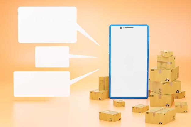 Der braune karton und das weiße leere textfeld um das blaue smartphone in leuchtendem orange