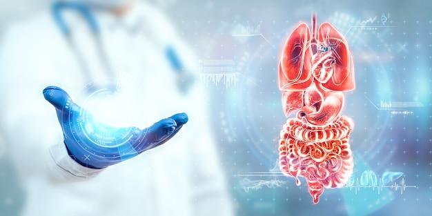 Der chirurg betrachtet das hologramm der inneren organe, überprüft das testergebnis auf einem virtuellen bildschirm und analysiert die daten. innere blutungen, chirurgie, innovative technologien, medizin der zukunft.