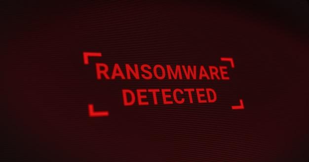 Der computerserver wurde von einem hacker mit einem ransomware-virus angegriffen, ein warnbildschirm zum schutz des netzwerkdatensystems, futuristische digitale cybersicherheitsbedrohungen 3d-illustration