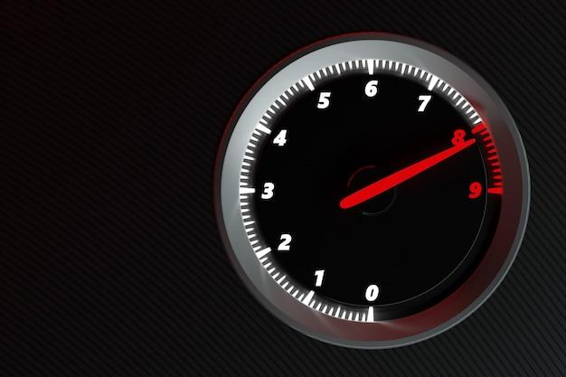 Der drehzahlmesserpfeil zeigt die höchstgeschwindigkeit an