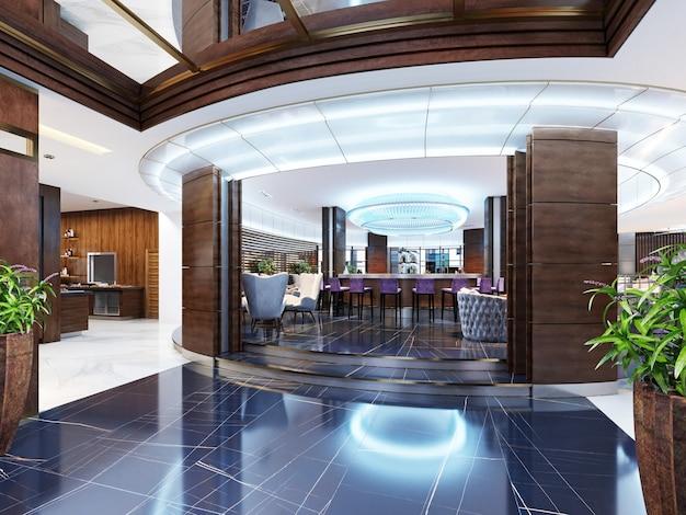 Der eingang zur bar ist ein restaurant eines luxushotels im modernen stil. 3d-rendering