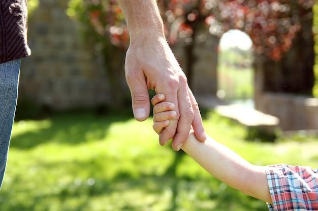 Der elternteil hält die hand eines kleinen kindes auf der natur