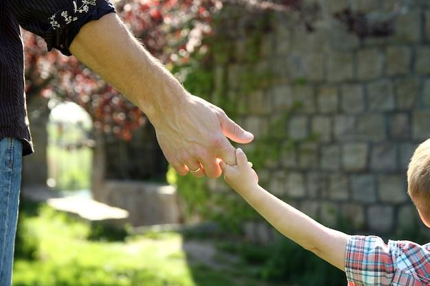 Der elternteil hält die hand eines kleinen kindes in der natur