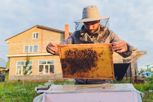 Der erfahrene imker-großvater bringt seinem enkel bei, sich um bienen zu kümmern. imkerei. das konzept des erfahrungsaustauschs.