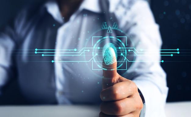Der fingerabdruck-scan der biometrischen sicherheits- und innovationstechnologie bietet zugriff auf die sicherheit