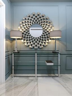 Der flur in der wohnung mit einer modernen metallkonsole mit glasregalen und leuchtenden lampen