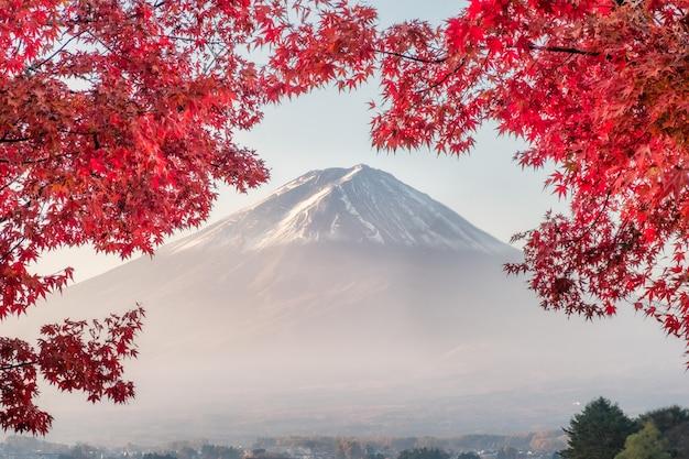 Der fujisan mit roten ahornblättern bedeckt am morgen am kawaguchiko see