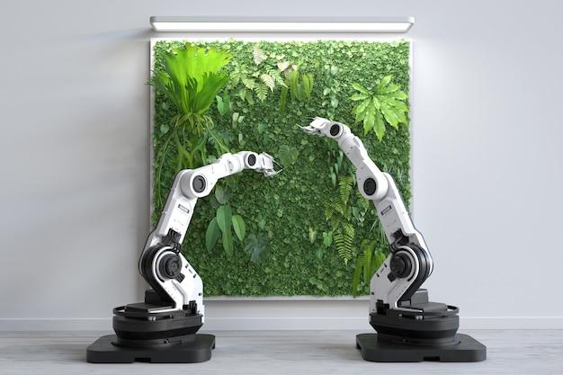 Der futuristische roboter pflanzt einen vertikalen pflanzengarten