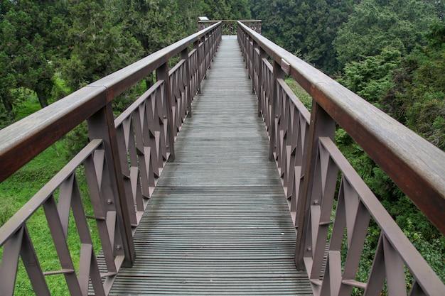 Der gehweg vom holz in nationalpark alishan bei taiwan