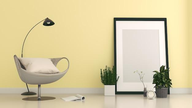 Der gelbe lehnsessel in der wohnzimmerwand färben blau, wiedergabe 3d
