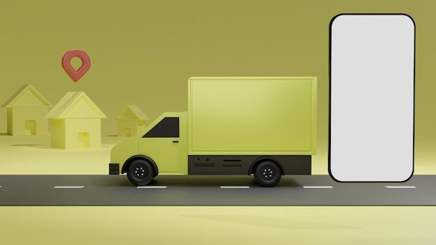Der gelbe lkw mit weißem bildschirm-handymodell, über gelber hintergrundbestellungszustellung