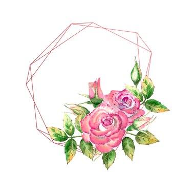 Der geometrische rahmen ist mit blumen verziert