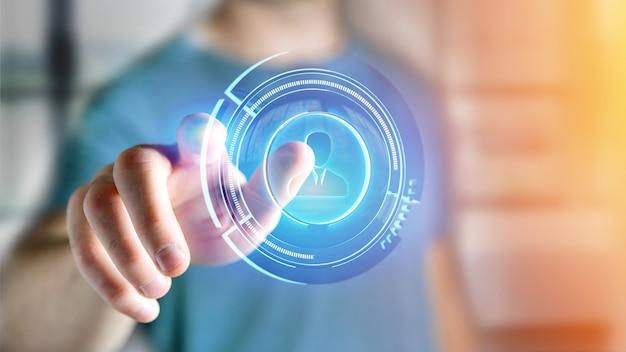 Der geschäftsmann, der einen shinny technologischen netzkontaktknopf hält, 3d übertragen